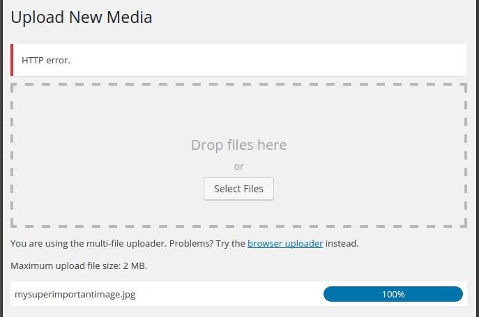Wordpress media upload http error screenshot